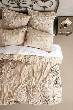 Georgina Duvet Cover in Sand. Anthropologie Bedding