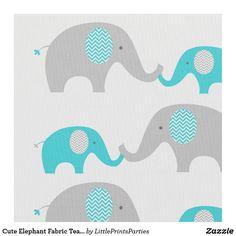 Cute Elephant Fabric Teal & Grey