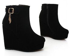XCC women wedge high heel ankle boots platform cotton snow half short botas warm winter boot footwear heels shoes P size