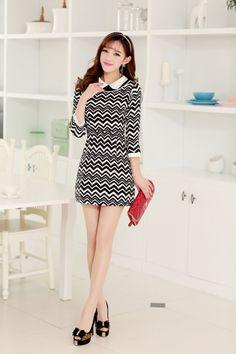 Zig Zag Dress, 3/4 Sleeves, Pattern dress, Print dress, 3/4 sleeve dress, YRB dress, American Angel, Korean style dress, Asian style dress, ...