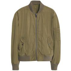 Mango Aviator Bomber Jacket, Beige/Khaki (€83) ❤ liked on Polyvore featuring outerwear, jackets, pocket jacket, bomber jacket, beige jacket, brown jacket and long sleeve jacket