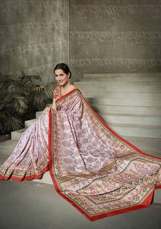 Pure Traditional Looks Designer saree Buy It Now Net Saree, Silk Sarees, Printed Sarees, Printed Silk, Ethnic Sarees, Saree Models, Casual Saree, Green Satin, Traditional Looks