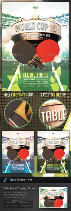 Table Tennis Tournament / School Flyer by StormDesigns This is a flyer template specifically designed for table tennis / ping pong events or tournaments, table tennis documentaries or m