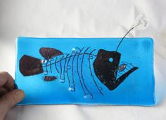 Anglerfish Skeleton Fused Glass Plate Glow by trilobiteglassworks, $45.00
