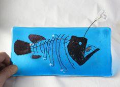Anglerfish Skeleton Fused Glass Plate Glow by trilobiteglassworks, $45.00