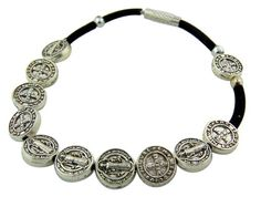 Saint St Benedict of Nursia Silver Tone Medal 8 Inch Adjustable Black Cord Wrist Rosary Bracelet >>> Want to know more, click on the image.