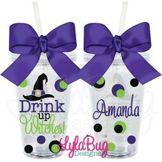 Halloween Drink Up Witches Personalized Acrylic Tumbler LylaBug Designs