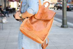Denim Shirt Dress + Leather Backpack - Mimi G Style
