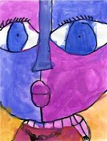 Art Projects for Kids: Big Face Painting. This was a BIG hit with the kindergarten. Outlined with black crayon. Painted with watercolor. Feb 2013. #Watercolor #kindergartenart #artprojectsforkids.org