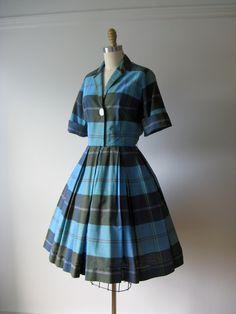 vintage 1950s dress / 50s dress / blue plaid day dress. $110.00, via Etsy.