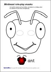 Minibeast role-play masks - b&w - SparkleBox cigarra Ant Crafts, Insect Crafts, Insect Art, Classroom Crafts, Preschool Crafts, Ant Costume, Animal Mask Templates, Lion Mask, Mask Drawing
