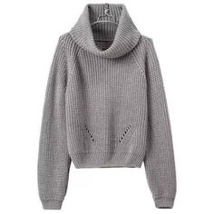 Yoins Grey High Roll Neck Chunky Knit Sweater (3.490 ISK) ❤ liked on Polyvore featuring tops, sweaters, yoins, grey, roll neck top, thick knit sweater, grey top, gray top and chunky knit sweater