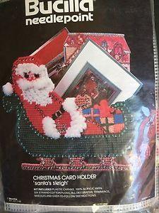 Needlepoint Plastic Canvas Kit Christmas Card Holder Santa's Sleigh by Bucilla  | eBay