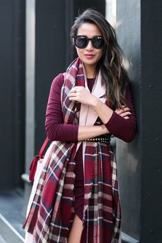 NYC Autumn Colors :: Plaid scarf & Burgundy boots