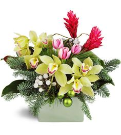 An extraordinary holiday deserves extraordinary flowers! Not your average arrangement, this is ideal for the special fashionista on Santa's list!This one-of-a-kind Christmas arrangement features luxurious cymbidium orchids paired with tropical red ginger flowers and delicate tulips, surrounded by traditional holiday greens.