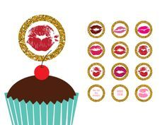 FREE kiss the single life goodbye, kiss the miss goodbye, cupcake toppers, cupcake labels, bridal shower cupcake toppers, labels, gold glitter