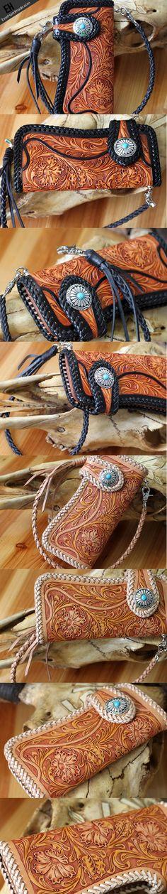 Handmade vintage floral men biker wallet leather Long wallet purse clu   EverHandmade