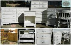 Before and After of bedroom suite painted in Annie Sloan Chalk paint, Old White. Distressed and waxed with Clear Wax.