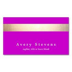 Gold Colored Striped Modern Stylish Magenta Business Card Template