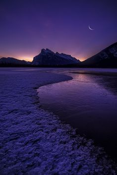 Wish You Were Here --- by Jeff Lewis ... a Crescent Moon over the magical Vermillion Lakes and Canadian Rockies of Banff, AB, Canada
