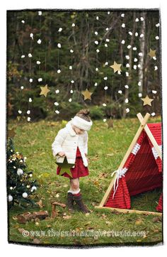 Kids A-Frame Holiday Ruffle Teepee Play Tent cover. Etsy.