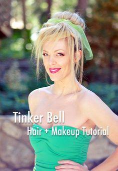 Tinker Bell Hair & Makeup Tutorial   DIY Costume Maquillage Halloween, Halloween Makeup, Halloween Costumes, Halloween Ideas, Halloween Party, Disney Dress Up, Disney Hair, Disney Makeup, Beauty Makeup