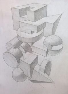 графическая композиция из геометрических фигур: 16 тыс изображений найдено в Яндекс.Картинках Geometric Shapes Drawing, Geometric 3d, Linear Perspective Drawing, Paper Architecture, Cubism Art, Elements And Principles, Sketches Tutorial, Object Drawing, Art Decor