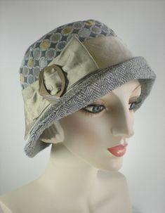 Women s Ladies 1920s style Wool and Silk Cloche Hat Gray  0727c014b53b