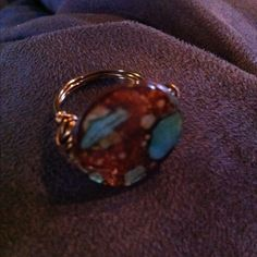Turquoise and brown mother of pearl ring... Www.originalstiles.com