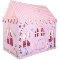 Do you believe in fairies? Make a wish and enjoy playing in this pretty pink and lilac Fairy Cottage. Appliqued and embroidered with delicate fairies, flowers and butterflies. Available in large and s