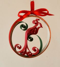 Christmas ornament red bird cardinal quilled paper in copper ring by Whomsoever on Etsy https://www.etsy.com/listing/210198238/christmas-ornament-red-bird-cardinal