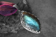 Labradorite Stone set in Etched Sterling by RoseMetalsJewelry, $165.00