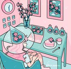 Fresh Bobatae (Emily Kim) | VK Kawaii Illustration, Japon Illustration, Cartoon Kunst, Anime Kunst, Anime Art, Aesthetic Drawing, Aesthetic Art, Aesthetic Anime, Arte Do Kawaii