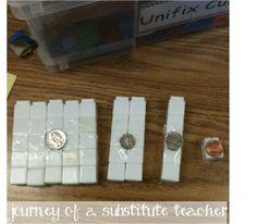 Math:  Money:  Visual Money Cubes: Journey of a Substitute Teacher