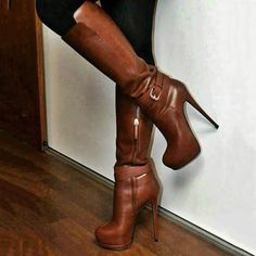 Shoespie Stylish Plain Round Toe Stiletto Heel Knee High Boots Women Clothes For Cheap, Collections, Styles Perfectly Fit You, Never Miss It! Knee High Heels, Platform High Heels, High Heel Boots, Heeled Boots, Knee High Flat Boots, Leopard Print Ankle Boots, Red Stiletto Heels, Hot Shoes, Women's Shoes