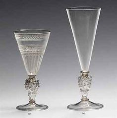 Venetian wine glasses of 16th - 17th Century