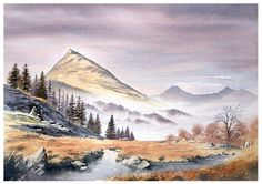 Landscape Watercolour paintings by Chris Hull of Snowdonia, North Wales, and the Lake District Watercolor Painting Techniques, Watercolor Landscape Paintings, Watercolor Projects, Easy Watercolor, Watercolor Print, Landscape Drawing Easy, Fantasy Landscape, Landscape Illustration, Watercolor Illustration