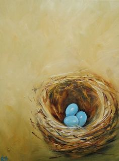Nest 190 18x24 inch original oil painting by Roz por RozArt en Etsy