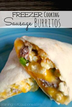 Freezer Cooking - Easy Sausage Breakfast Burritos   Raining Hot Coupons. #freezermeal #breakfastburrito