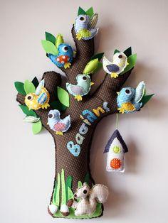 TREE WITH BIRDS, made of fabric Dinosaur Stuffed Animal, Wall Decor, Birds, Diy Crafts, Fabric, Craft Ideas, Animals, Decoration, Tela
