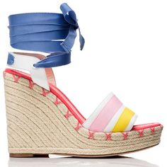 Kate Spade Danah Wedges ($198) ❤ liked on Polyvore featuring shoes, sandals, criss cross wedge sandal, wedge heel shoes, criss-cross sandals, wedges shoes and nautical shoes