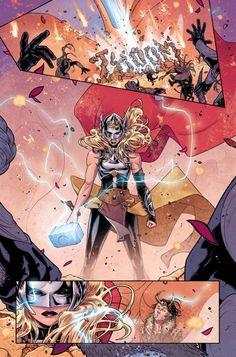 Mighty Thor No. 4 Panel Featuring Thor (Female), Loki Marvel Comics Poster - 30 x 46 cm Female Comic Characters, Marvel Comic Character, Marvel Comic Books, Marvel Art, Marvel Dc Comics, Comic Books Art, Cosmic Comics, Loki Marvel, Book Art