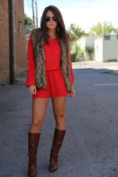 Daring Red Romper with boots and vest