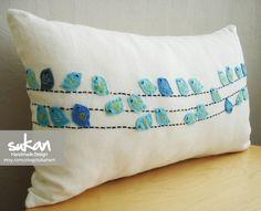 Birds Pillow Cover 12x20 by sukanart on Etsy