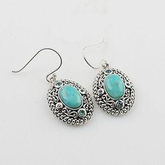 Blue Topaz & Turquoise Sterling Silver Earrings