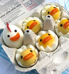 Deviled egg chicken family (chicks and hen) - fun easter dish // Tyúkanyó és csibéi főtt tojásokból - húsvéti előétel // Mindy - craft tutorial collection //