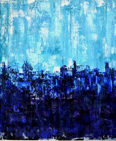 "Saatchi Online Artist Giorgi Chxeo; Painting, ""city (blue)"" #art"