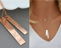 Nameplate Necklace, Roman Numeral Necklace, Vertical Bar, Coordinates Necklace, Delicate Necklace Pearl, Layered Necklace, Gold, Silver by malizbijoux. Explore more products on http://malizbijoux.etsy.com