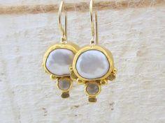 Pearls Earrings  24k Gold Earrings  Pearls Dangle by Omiya on Etsy  Or maybe these . . .