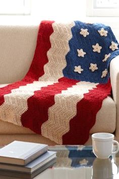Red, White, and Crochet: 24 Fourth of July Patterns (afghans, pillows, buntings, bags, pot holder, tablecloth weights, cozy, etc)